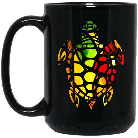 Beautiful Stained Glass Turtle Gift Large Black Mug