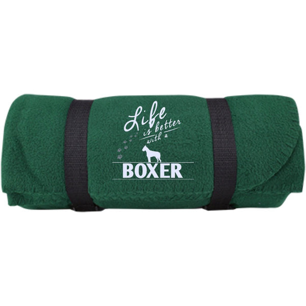 Boxer - Life Is Better With A Boxer Paws - Fleece Blanket (Embroidered)