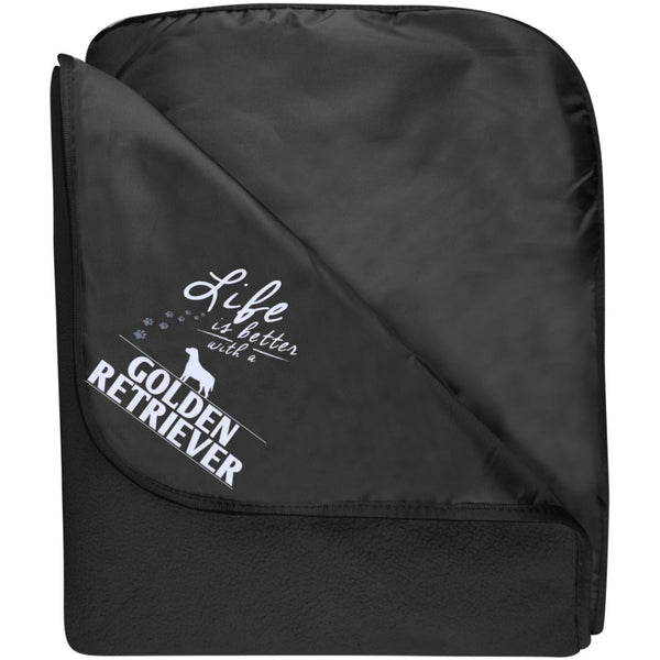 Golden Retriever - Life Is Better With A Golden Retriever Paws - Fleece & Poly Travel Blanket (Embroidered)