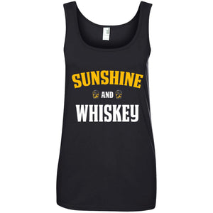 Funny Whiskey Lover Gift Sunshine and Whiskey Ladies Tank Top