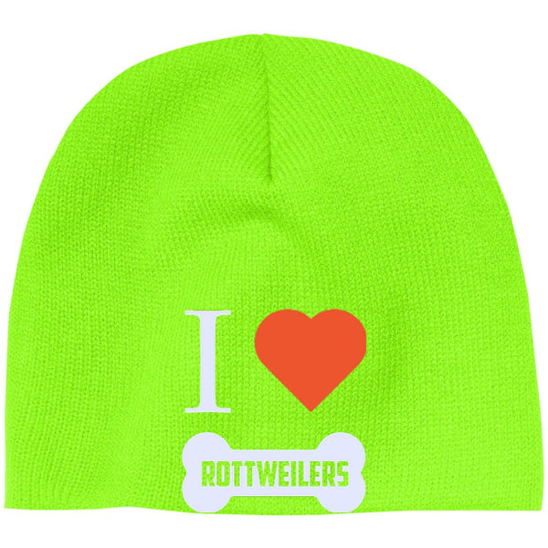 Rottweiler - I LOVE MY ROTTWEILER (BONE DESIGN) - Beanie (Embroidered)