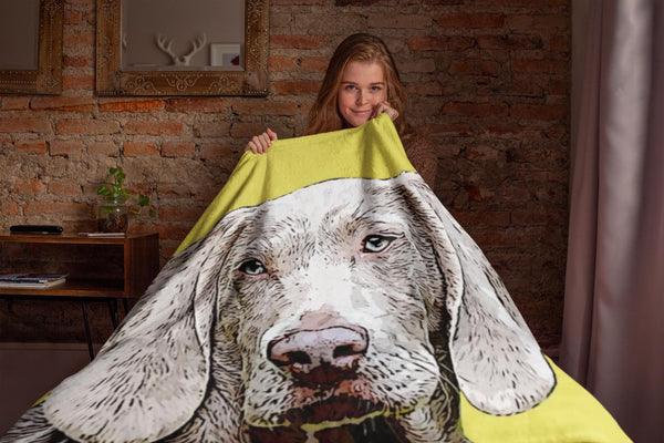 Your Pet On A Blanket With Solid Color Background