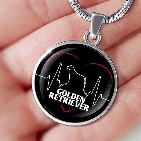 Golden Retriever Heartbeat Necklace