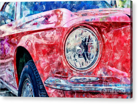 Watercolor Of Classic Car - Acrylic Print