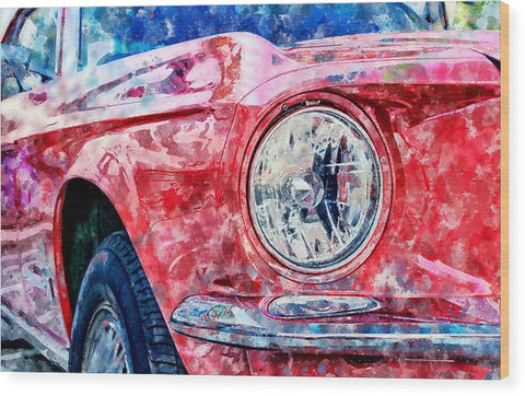 Watercolor Of Classic Car - Wood Print