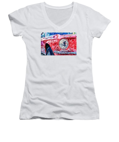 Watercolor Of Classic Car - Women's V-Neck (Athletic Fit)