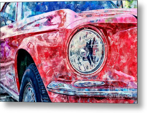 Watercolor Of Classic Car - Metal Print