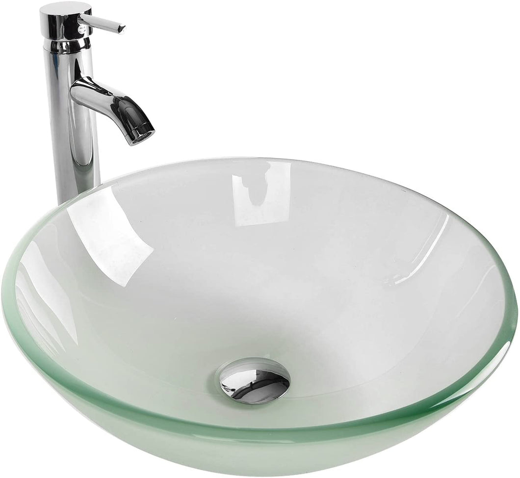 Tempered Glass Vessel Bathroom Vanity Sink Round Bowl With Chrome Fauc Robles Kitchen Cabinets
