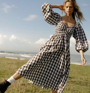 Mallory Dress - Biscuit Check