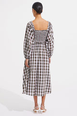 Corrine Dress - Biscuit Check - steele label