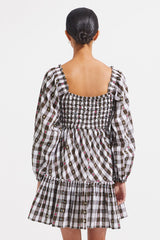 Mallory Dress - Biscuit Check - steele label