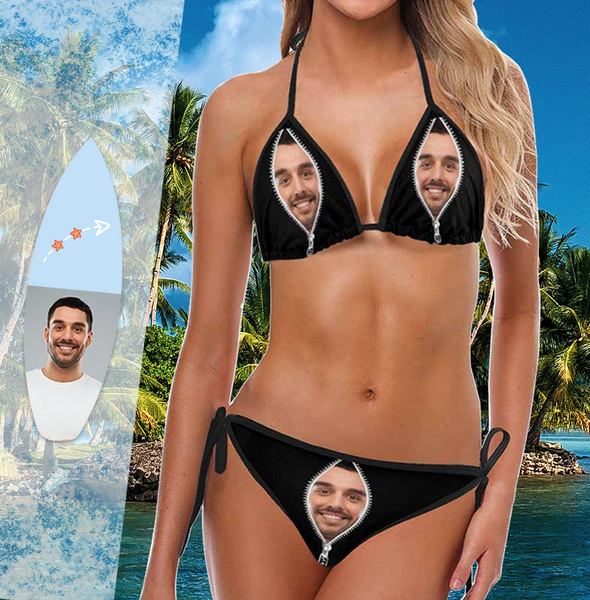 Custom Face Bikini Women's Sexy Photo Segmented Swimsuit Women's Gifts - Zipper