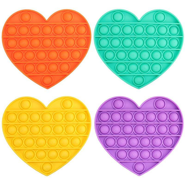 Heart Shape - Push Pop Bubble Fidget Sensory Toy, Pop-Pop Fidget Toy Gifts for Boys and Girls, Stress Relief and Anti-Anxiety Tools for Kids and Adult