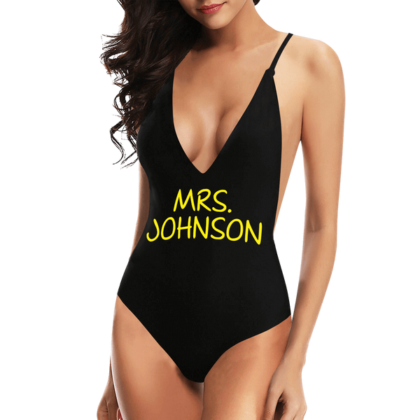 Custom Name V-Neck Bikini Women's Text One Piece Swimsuit Gift For Her - Add Name