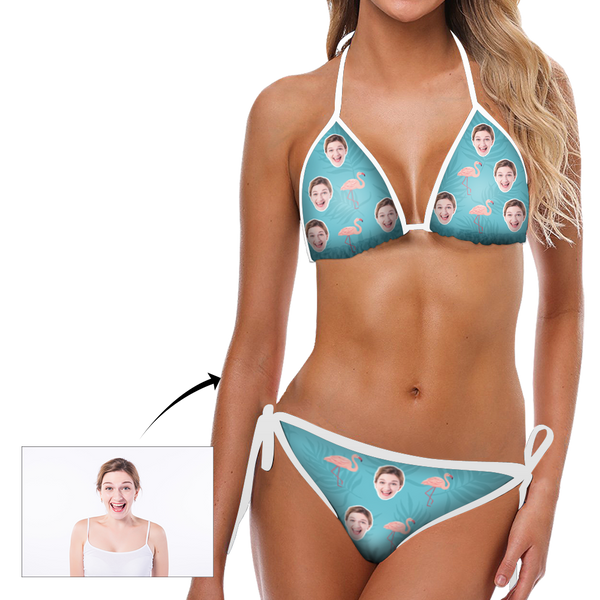 Custom Face Bikini Women's Sexy Photo Segmented Swimsuit Women's Gifts - Flamingo
