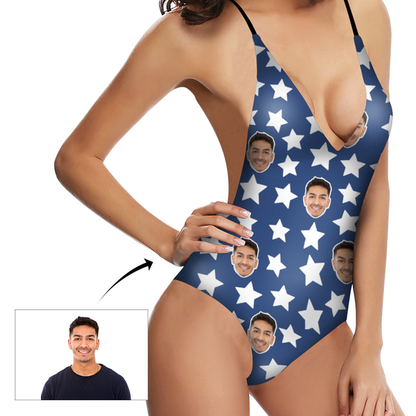 Custom Face V-Neck Bikini Women's Photo One Piece Swimsuit Women's Gifts - White Stars Blue