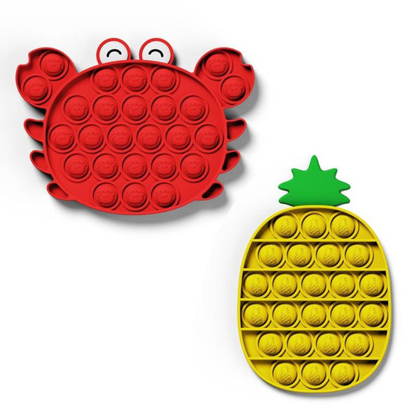Crab+Pineapple - Push Pop Bubble Fidget Sensory Toy, Pop-Pop Fidget Toy Gifts for Boys and Girls, Stress Relief and Anti-Anxiety Tools for Kids and Adult