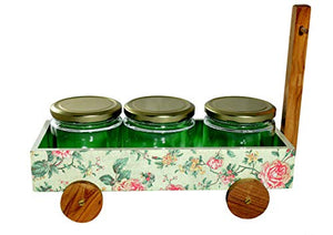 The Weaver's Nest Multi Purpose Hand Painted Wooden Handle Caddy with 3 Jars for Kitchen and Home Organizer (Green, 32 X 14 X 21cm)