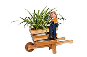 The Weaver's Nest Wheel Barrow Wooden Planter | Garden Flower Plant Pot | Decorative Small Farm Cart (Size: 30 x 17 x 15 cm)