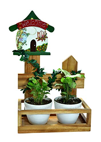 The Weaver's Nest: Wooden Hand Painted Welcome House Planter with Creeper