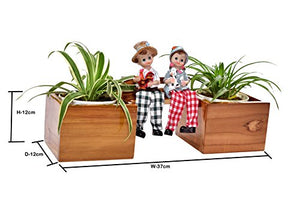 The Weaver's Nest Boy & Girl Wooden Bench Planter