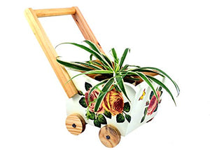 The Weavers Nest Wooden Cart with Multi Utility Storage Planter