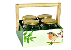 The Weaver's Nest Beautifully Handcrafted Caddy for Kitchen Storage and Serving with 4 Jars