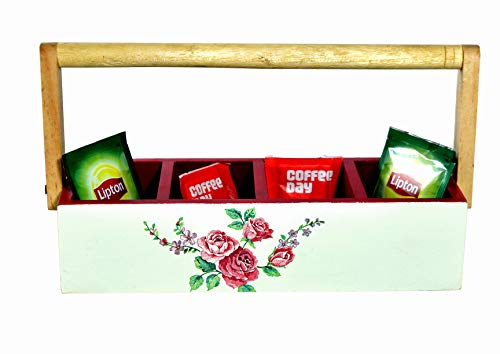 The Weaver's Nest Multi Purpose Hand Painted Wooden Handle Four Partition Caddy for Kitchen and Home Organizer (Red, 25 X 9 X 12cm)