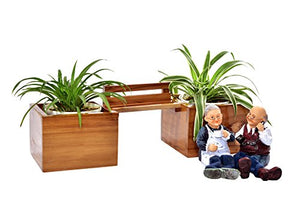 The Weaver's Nest Old Couple Wooden Bench Planter