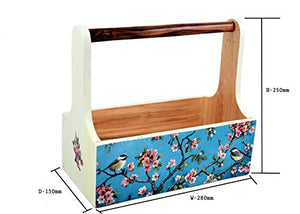 The Weaver's Nest Blue Cherry Blossom Wooden Planter Storage Caddy