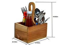 Load image into Gallery viewer, The Weaver's Nest Teak Wood Table Utility Cutlery Holder/Caddy with Handle