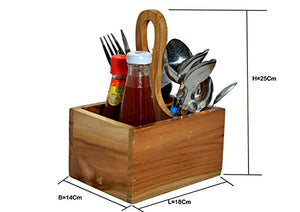 The Weaver's Nest Teak Wood Table Utility Cutlery Holder/Caddy with Handle