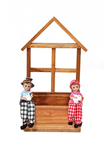 The Weaver's Nest Wooden Teak Wall Planter with Boy and Girl Figurine