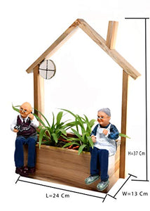 The Weaver's Nest Wooden Old Couple Planter for Home and Garden