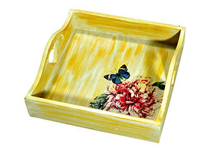 The Weaver's Nest Wooden Serving Storing Decorative Flower Design Serveware for Home, Kitchen, Cafe, Dining Tabletop Accessory Yellow (20 X 20 X7 cm)