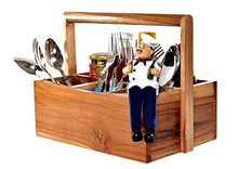 Load image into Gallery viewer, The Weaver's Nest Teak Wood Table Utility Cutlery Holder, Brown