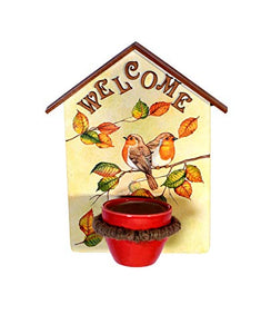 Wooden Welcome Wall Hanging with Ceramic Pot - The Weaver's Nest