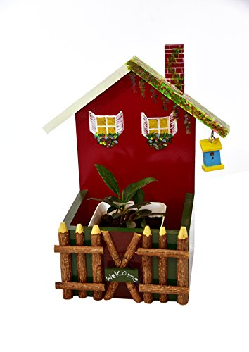 Wooden Hand Painted Welcome House with Birdhouse Fence Decorative Planter - The Weavers Nest