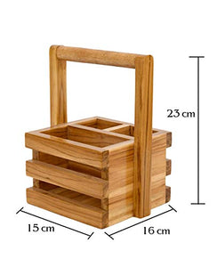 The Weaver's Nest Wooden Teak Multipurpose Cutlery Holder Organizer/Stand