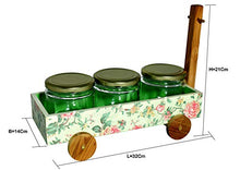 Load image into Gallery viewer, The Weaver's Nest Multi Purpose Hand Painted Wooden Handle Caddy with 3 Jars for Kitchen and Home Organizer (Green, 32 X 14 X 21cm)