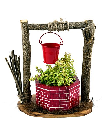 The Weaver's Nest Wishing Well Planter (Red and Brown)