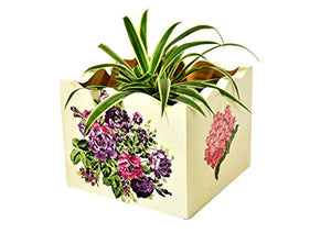 Floral Handcrafted Wooden Decorative Multi Utility Storage Planter Box - The Weaver's Nest
