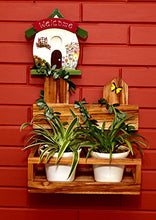 Load image into Gallery viewer, The Weaver's Nest: Wooden Hand Painted Welcome House Planter with Creeper