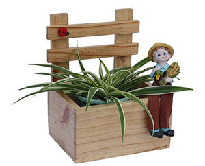 The Weaver's Nest Wooden Planter | Welcome Decorative Fence | Multi Utility Storage Box (Size: 18.5 x 23 x 16 cm)