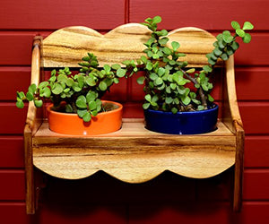 The Weaver's Nest Wooden Bench Planter with Ceramic Pots