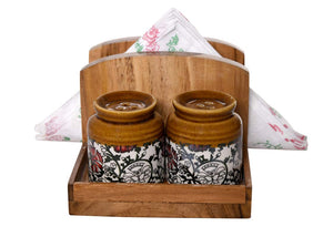 The Weaver's Nest Wooden Tissue Paper Holder with Salt & Pepper Shakers for Dining Table