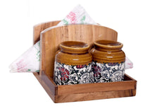 Load image into Gallery viewer, The Weaver's Nest Wooden Tissue Paper Holder with Salt & Pepper Shakers for Dining Table