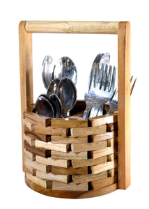 The Weaver's Nest Wishing Well Teak Wood Cutlery Holder for Dining Table