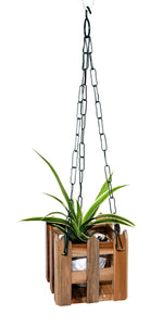The Weaver's Nest Wooden Handmade Hanging Planter with Chain