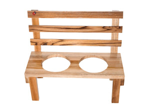 The Weaver's Nest Wooden Bench Planter with Ceramic Pots for Home and Garden